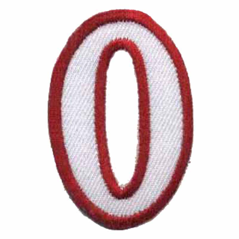 Embroidered patches red Numbers 0 cartoon patch sew on patch 50.8MM high