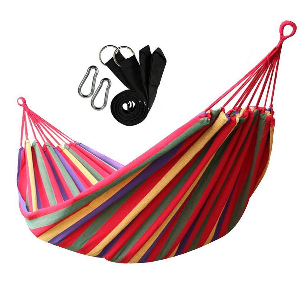 V-Top-Shop Double Rope Hanging Hammock Camping Swing Canvas Bed with Carabiner Straps for 2 Persons - Red - 200 x 150 cm