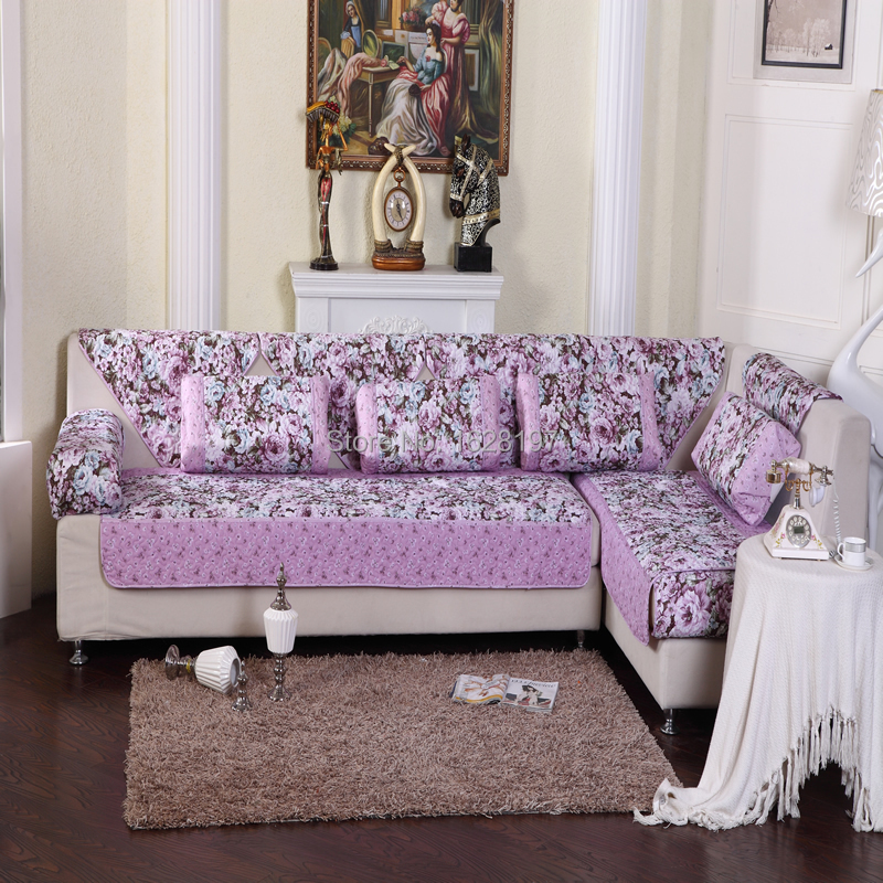Purple Couch: Lavender Sofa Slipcover Light Purple Flowers Couch Sofa
