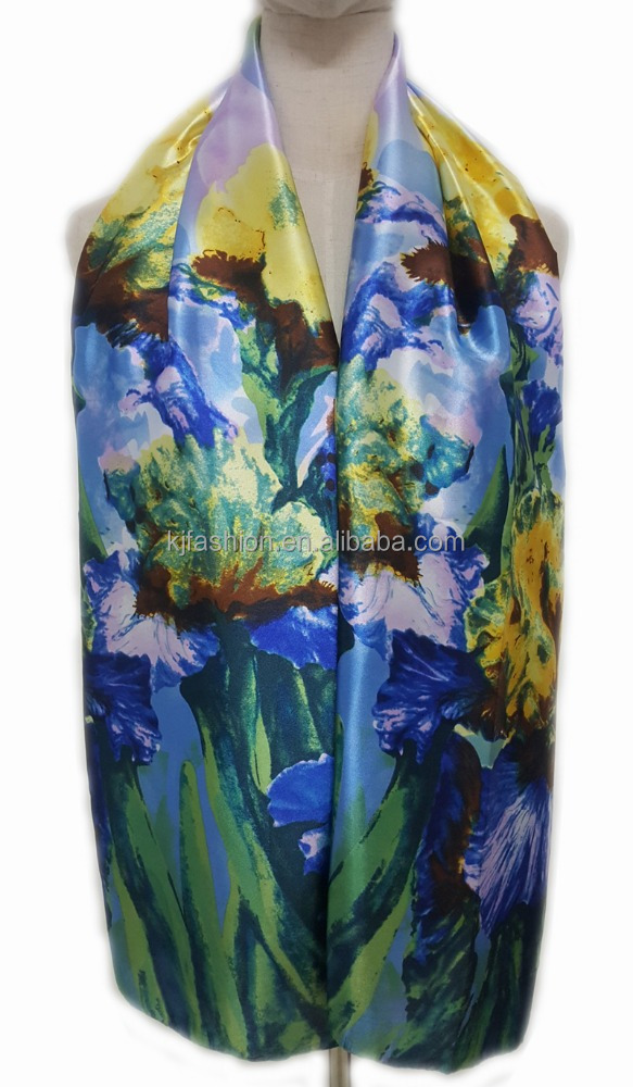 Hand painted flower pattern logo print silk custom desinger scarf new fashion trend in the coming season