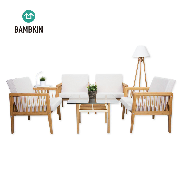 BAMBKIN bamboo living room furniture square side tea table glass end table modern design use for office