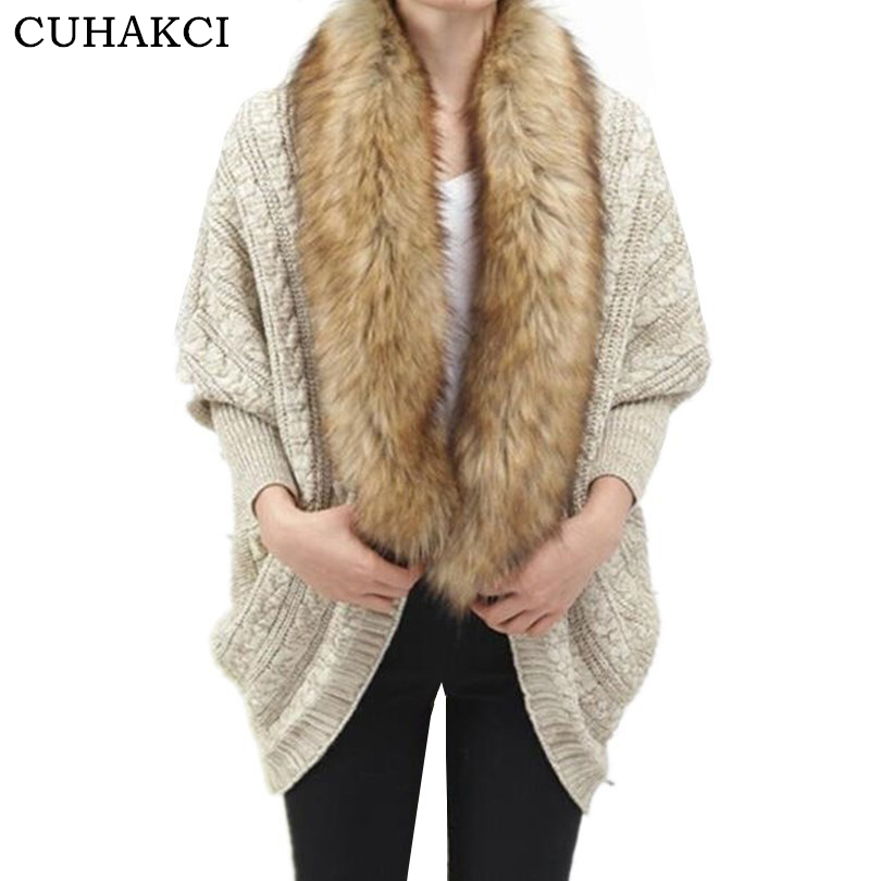 CUHAKCI Fashion Women Faux Fur Collar Coat Batwing Sleeve Loose Casual Warm <strong>Cardigan</strong> Shawl Sweater 2018 Spring Autumn <strong>Cardigans</strong>