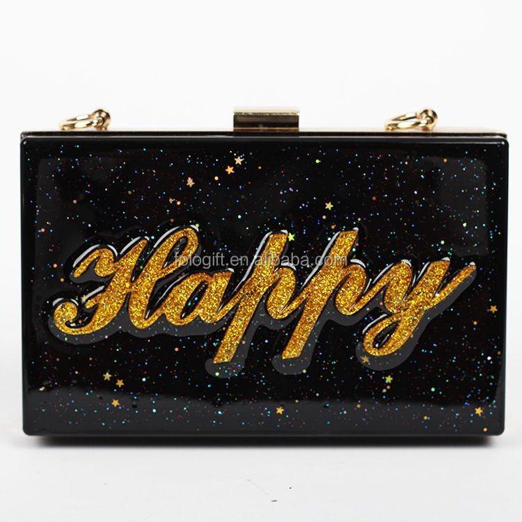 Acrylic Box Letters : Fashion diy letters clear acrylic box clutch purse ladies