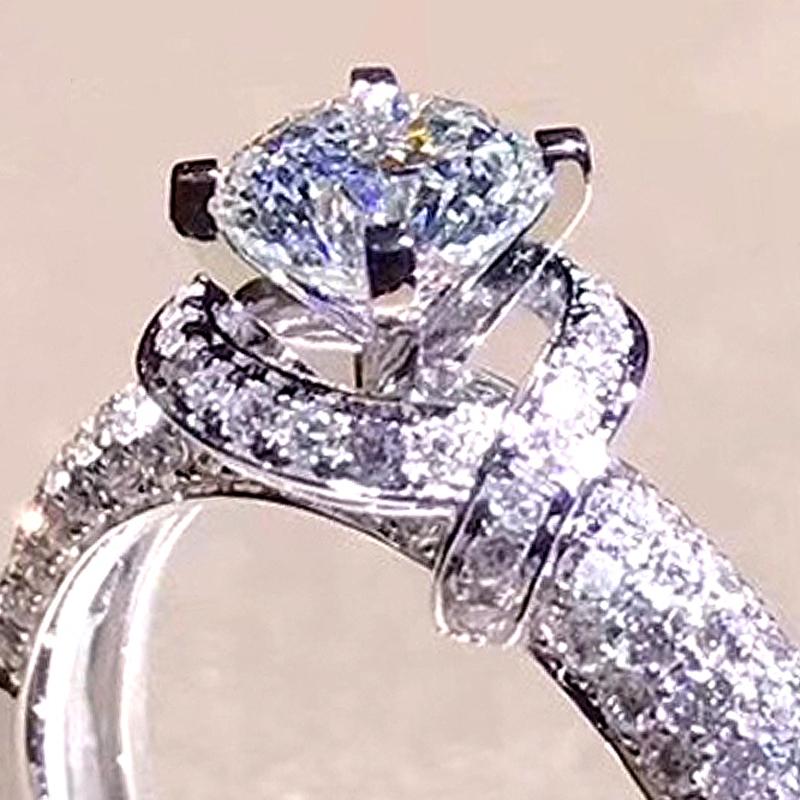 XEYJZ301 Luxury 1ct 5A CZ Not Real Moissanite Retro Flower Shape Wedding Rings Princess Women Platinum Plating Ring Dropshipping фото