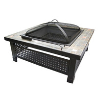Garden BBQ fire pit modern designed high quality factory direct square outdoor slate top large outdoor wood fire pit table set