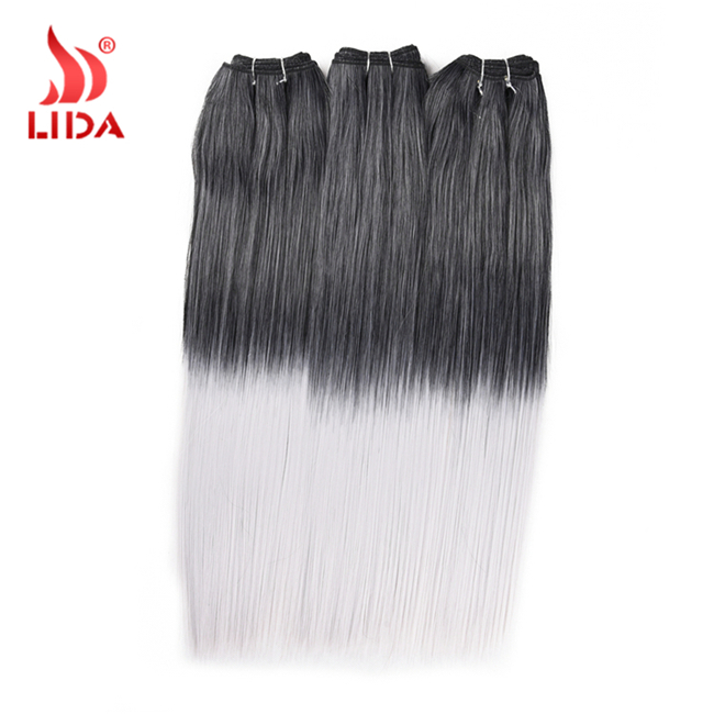 Lida Ombre black and white hair weaves Futura synthetic hair extention yaki straight weaves double weft