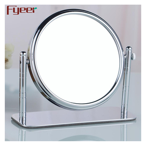 Fyeer double sided magnifying rotating brass table makeup mirror
