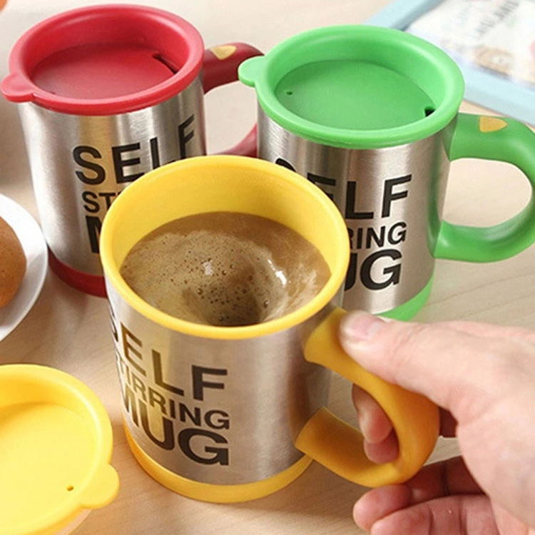 Double Insulated Self Stirring Mug Electric Lazy Automatic Mixing Stainless Steel Travel Coffee Mug