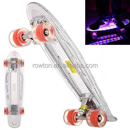 "Mini Cruiser Skateboard Crystal Complete 22"" Skate Board with LED Light Up Deck for Adult Youth Beginner, Birthday Gift for Kids"