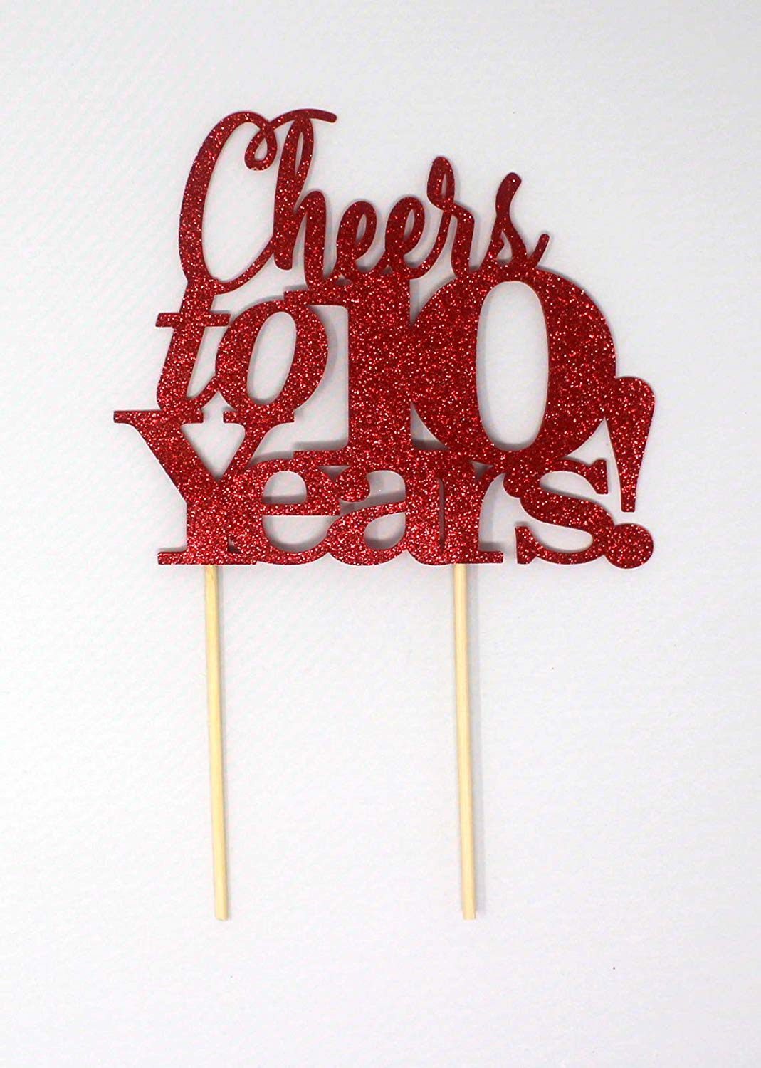 All About Details Cheers to 10 Years! Cake Topper, 1PC, 10th anniversary, retirement (Red)