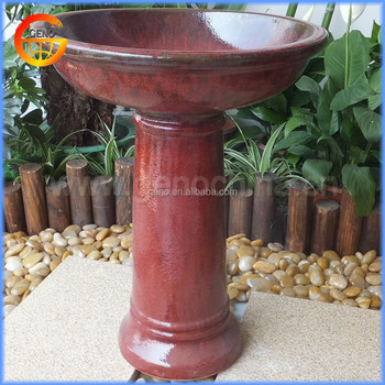 Whole Glazed Ceramic Red Bird Bath 2 Rust
