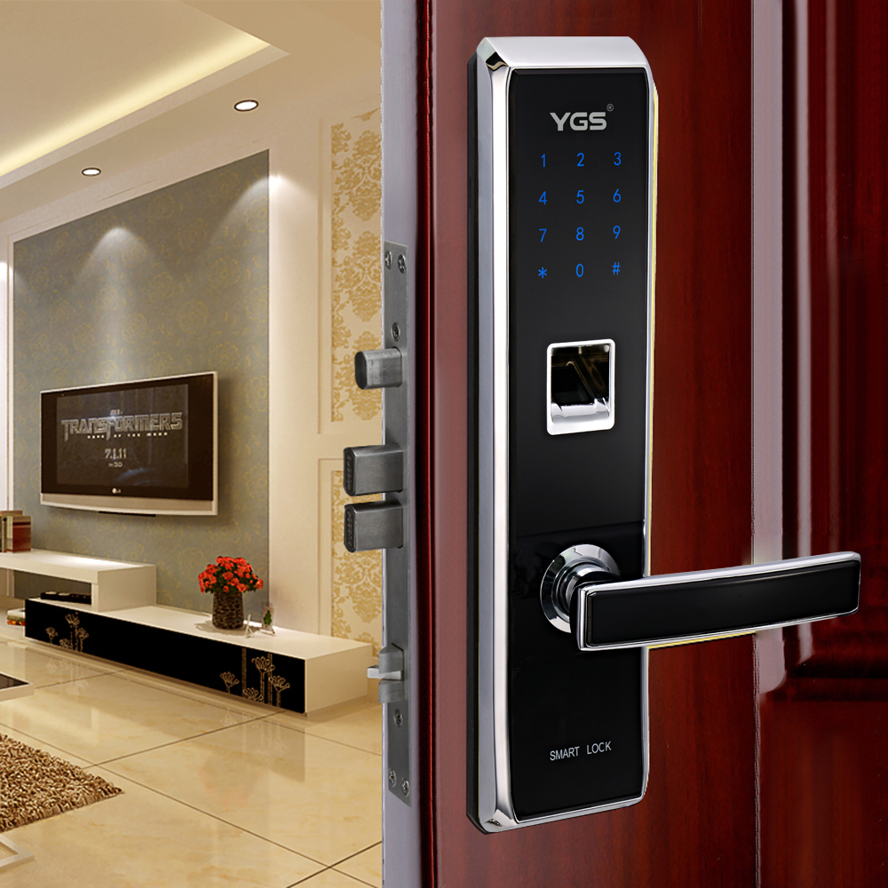 Indoor Slaapkamer Deur Biometrische Bel Slot Met Deur Kier Alarm ...