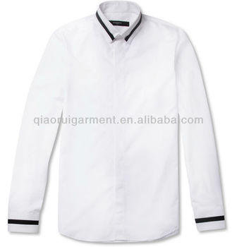 Mens White Cotton Casual Shirt With Black Trim Collar And Cuff ...