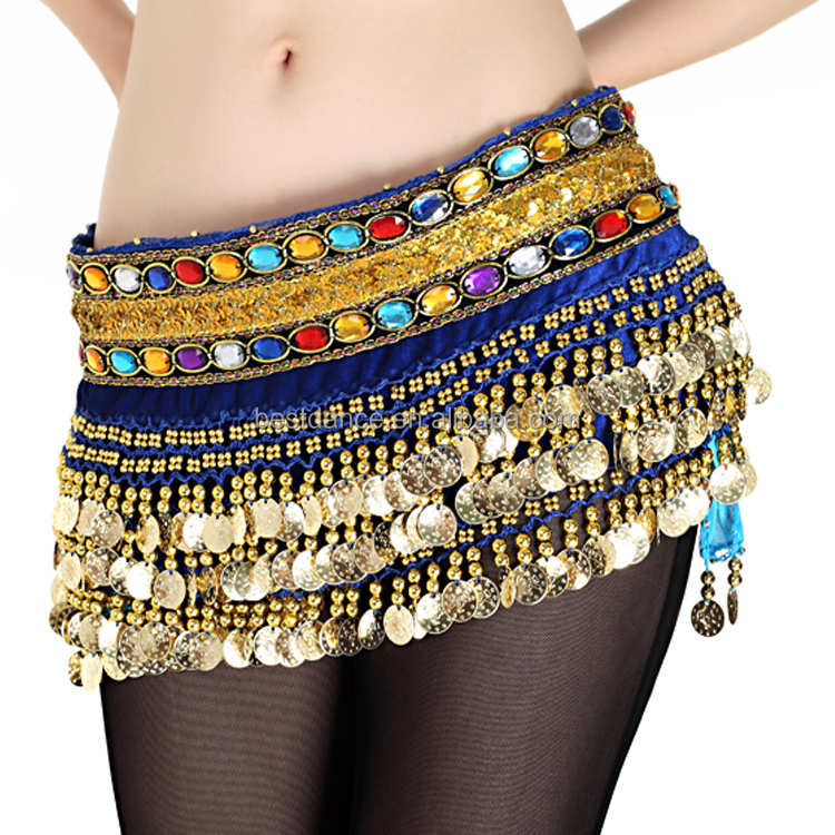 Women Belly Dance Hip Skirt With Silver Coins Belt Costume Scarf Wrap US Stock