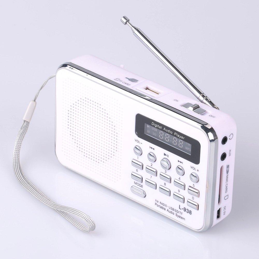 Mfine mini digital Portable Music player Micro sd/tf usb disk Speaker Fm Radio (938 White)