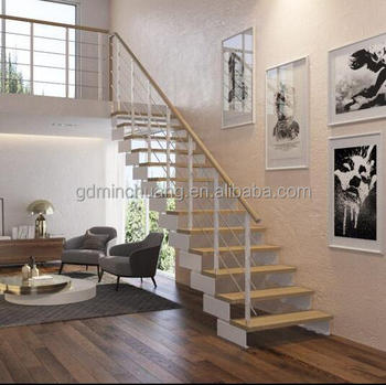 Economic Price Stainless Steel Cable Railing Straight Wood Steps Stairs  Staircase   Buy Stainless Steel Cable Railing Staircase,Stainless Steel  Cable ...