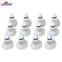 LYDOO 12pcs Portable White Goose Feather Badminton Shuttlecocks for Outdoor Sport Training Ball
