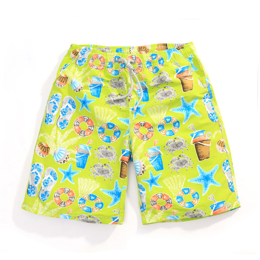 2015 Summer Style Quick Dry Cute Print Lover's Board Shorts Couple Surf Beach Swim Shorts For Men And Women Swimwear Boardshorts