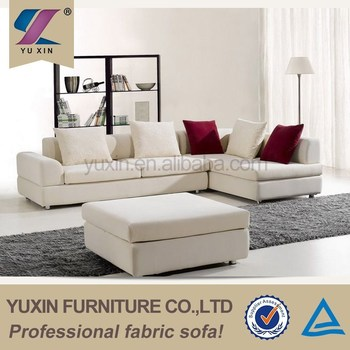 Egypt Modern Design Fabric Sofa Furniture White Corner Chaise Lounge