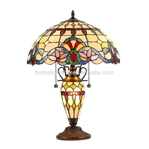 JLT-1624 vintage decorative tiffany stained glass table lamp indoor living room desk light