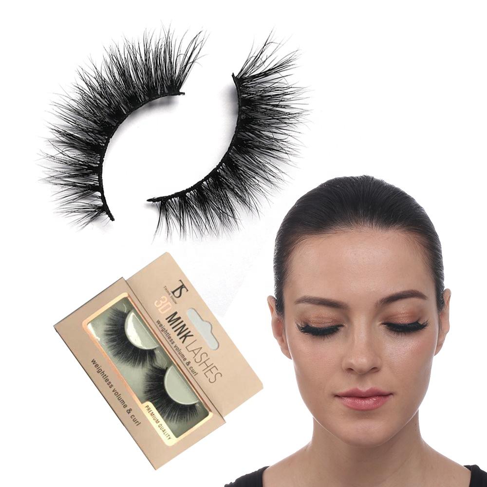 Wholesale Private Label 100% Mink Fur False Lashes Custom Packaging Real 3D Mink Eyelashes, Natural black