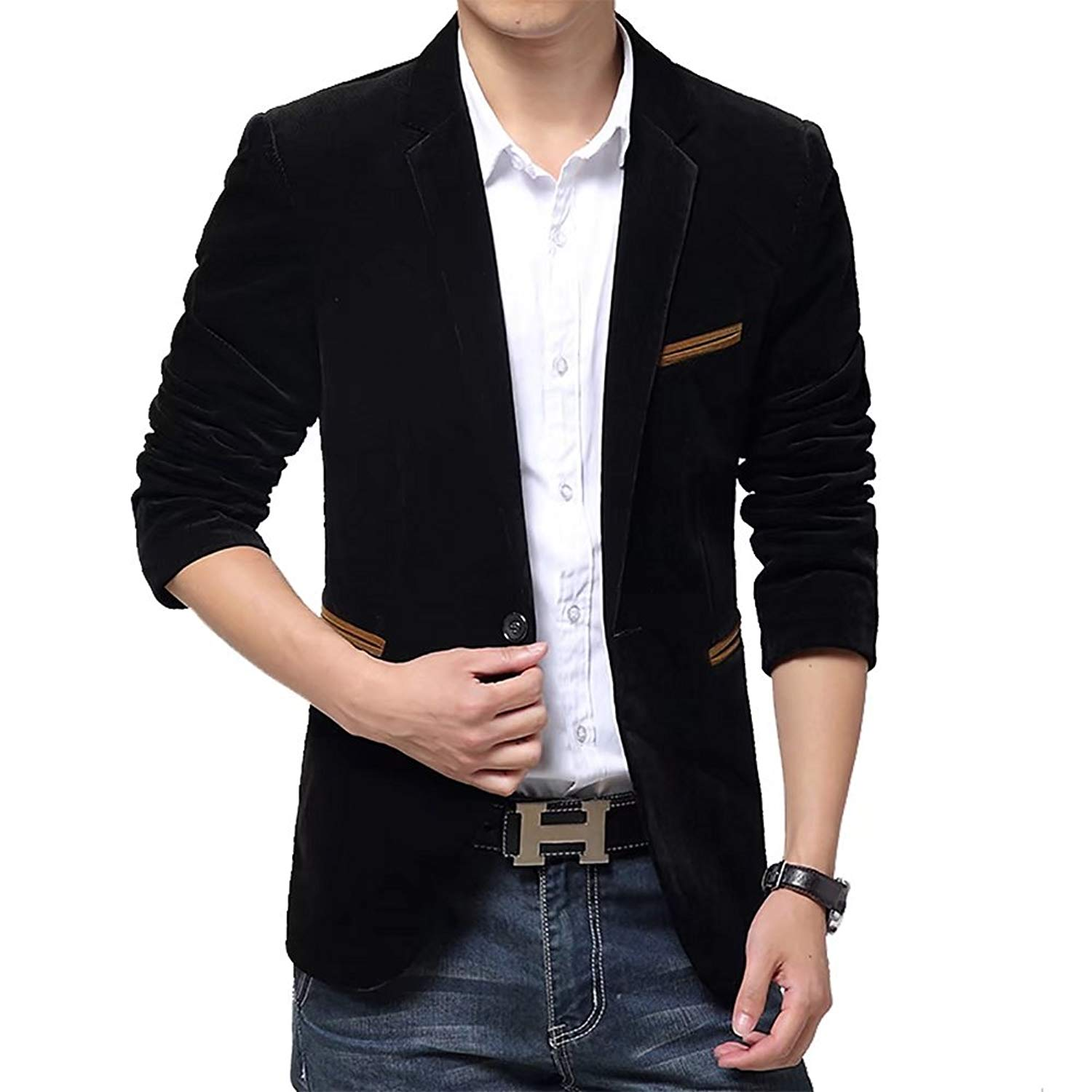 Mens Classic Solid Sport Coats Casual One Button Single Breasted Notched Lapel Jacket