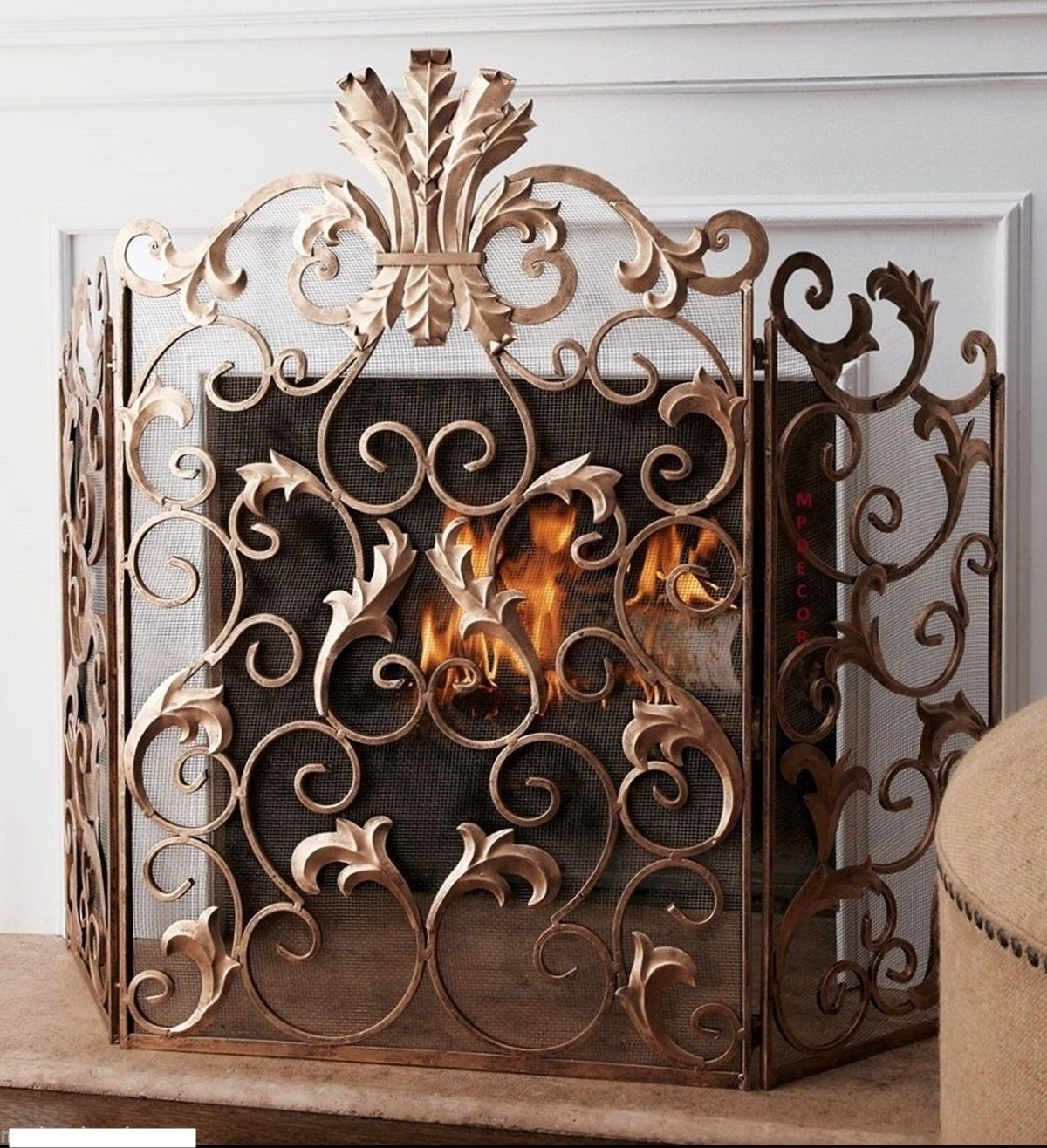 vintage fireplace screen fascinating gold ideas copper for trend uncategorized pict antique fire and