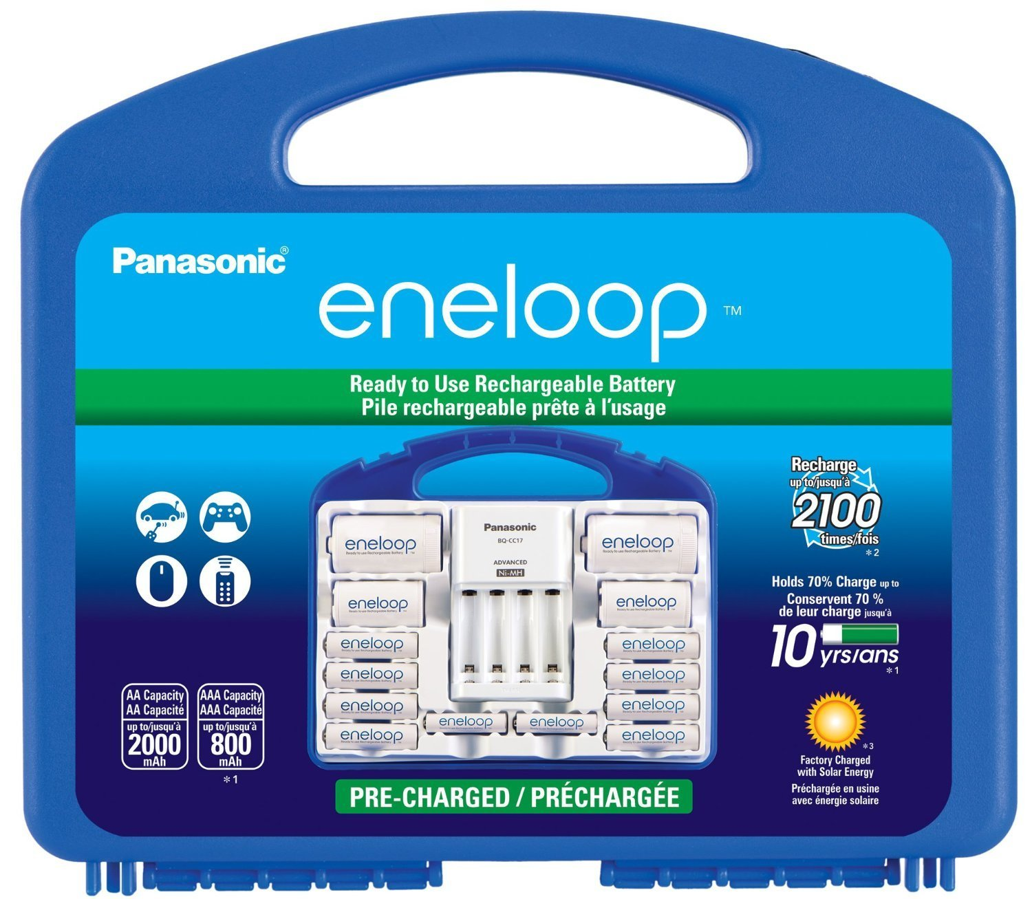 """Panasonic Eneloop Power Pack 2100 cycle w/ 8x AA + 2x AAA + 2x """"C"""" and 2x """"D"""" Spacers, 1x 4 Position Charger BQ-CC17, 1x Storage Case and 1x Keychain light"""