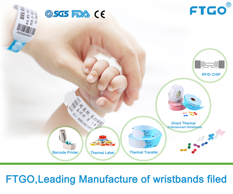 FTGO RFID Disposable Wristband Patient ID RFID Thermal Wristband