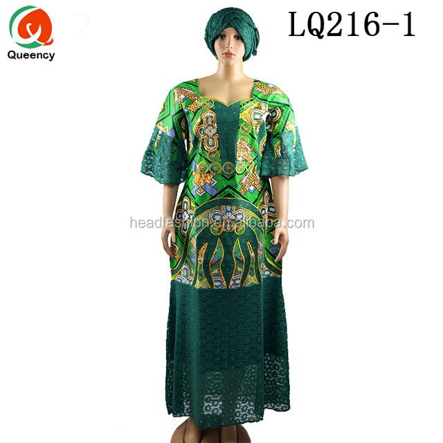 69719372f502 LQ216 Queency Wholesale African Nigerian Women Wedding Party Lace Design  Batik Ankara Wax Dresses