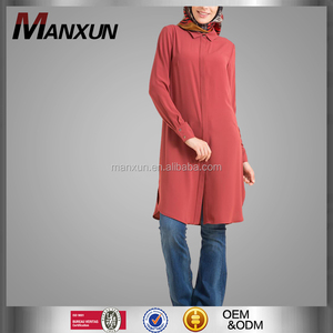 Good quality plain muslim ladies coat China wholesale ladies blouse