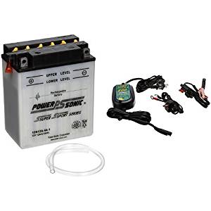 Power-Sonic 12N12A-4A-1 Conventional Powersport Battery and Battery Tender 022-0150-DL-WH 800 Battery Charger Bundle