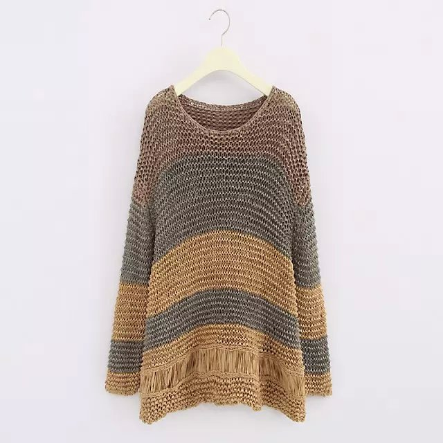 Europe station 2015 autumn new women loose earth tones mixed colors hedging sweater tide 6888/003