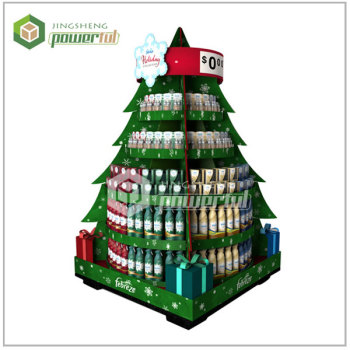 custom design promotional christmas tree corrugated cardboard shelves display stand