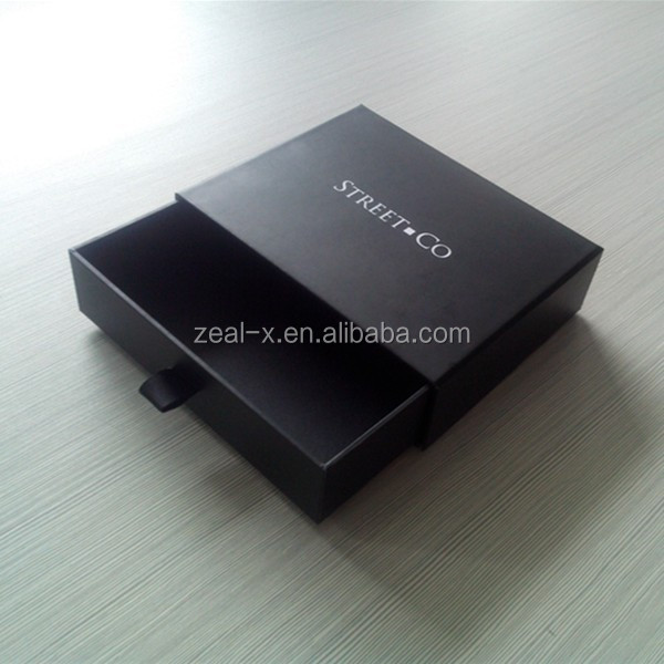 Personalized Printing Black Gift Paper Drawer Box Design With Ribbon For Jewelry Packing Fancy Cardboard Box Packing