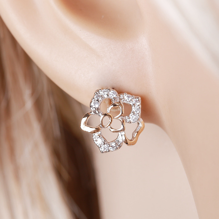 25040 Xuping latest design multicolor bridal flower stud earrings
