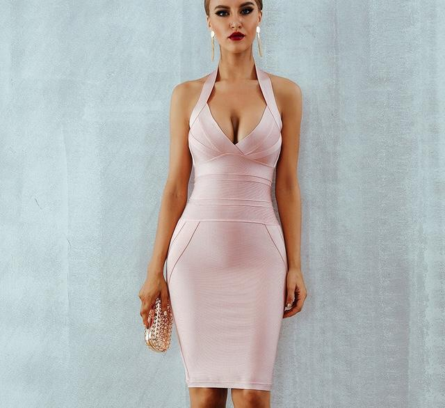 Alibaba.com / 2018 new design sexy deep V-neck bandage dress backless evening dress