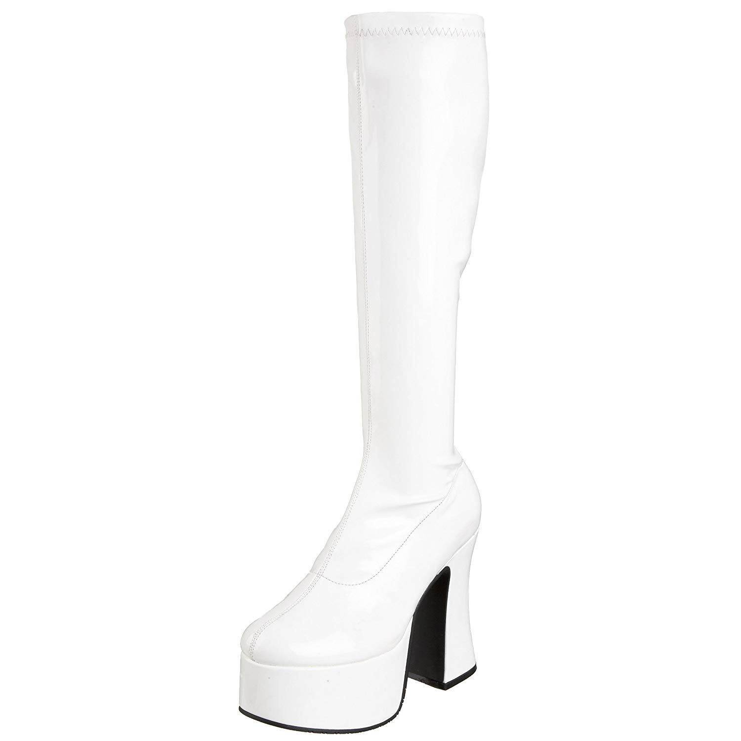 40e20c4487b8 Get Quotations · Summitfashions 5 Inch Trendy Gothic Knee High Boot  Platform Knee Boots White Stretch Patent