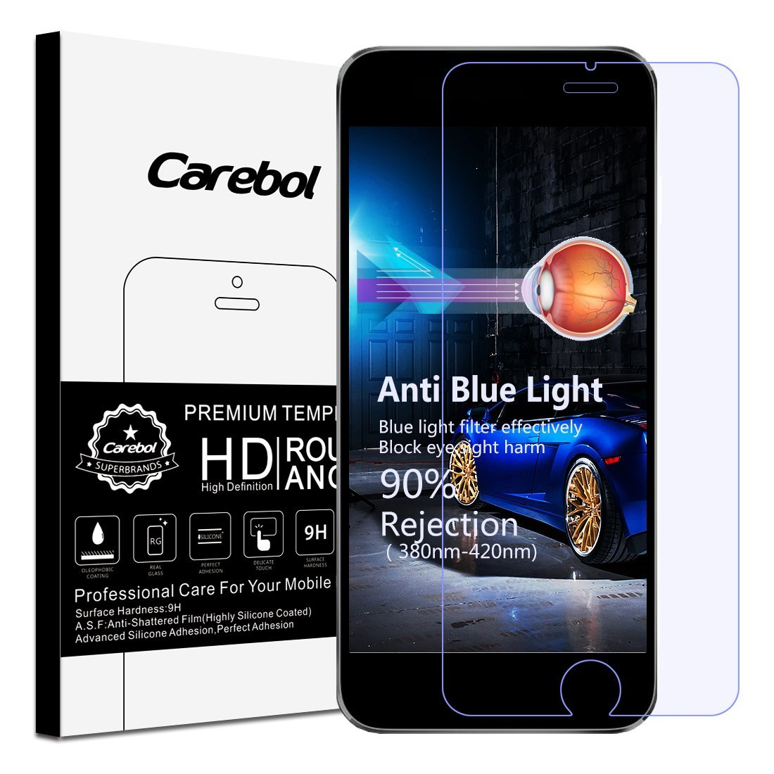 Carebol Anti-Blue Light Premium Tempered Glass Screen Protector for iPhone 6 /iPhone 6S ,[Eye Protect],Explosion-proof screen,High Definition