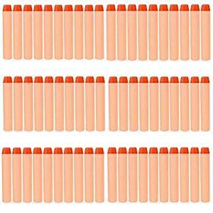 Yosoo 80PCS Orange Refillable Replacement Foam Darts Sponge EVA Round Head Soft Bullet for Nerf N-strik Elite Rampage Retaliator Series Blasters Toy Gun Toy Bullet