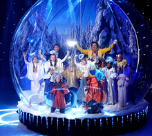 Snowman inside background inflatable snow globe material PVC 1.0 MM with base and blower for christmas on top selling