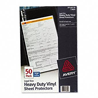 Avery : Top-Load Vinyl Sheet Protectors, Heavy Gauge, Legal, Clear, 50/box -:- Sold as 2 Packs of - 50 - / - Total of 100 Each