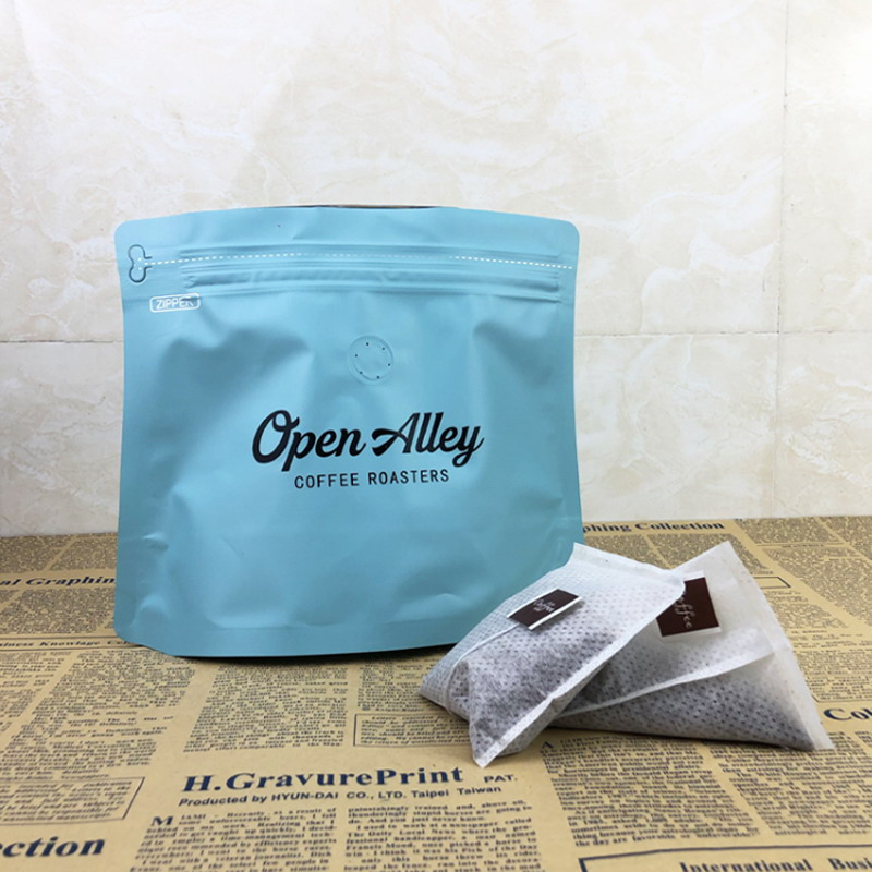 flat bottom zipper food coffee packaging pouch diamond shape bag with valve