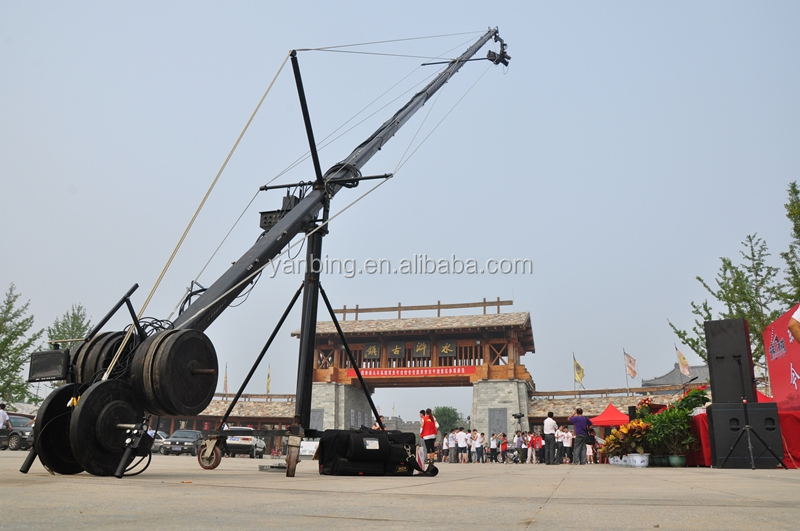 Professional photographic filming triangle jimmy jib camera crane14m with 2 axis motorized head