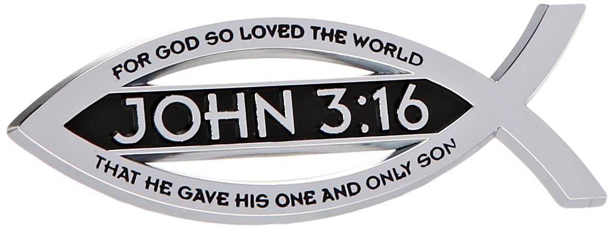 Buy John 316 For God So Loved The World Christian Fish Text Emblem
