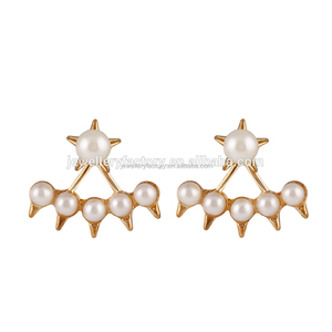 Hot Fashion 18K Gold Pearl Cuff Earrings