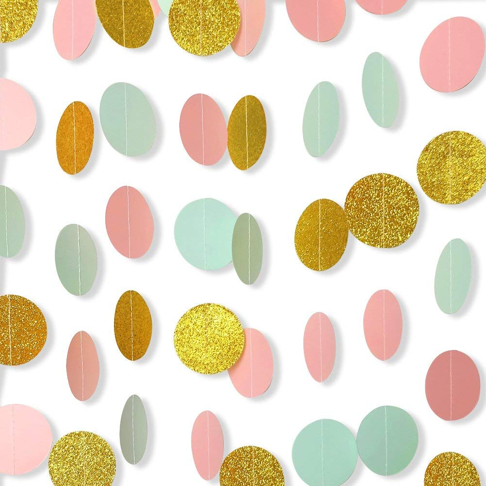 Augoog 7 Pack Circle Dots Paper Garland Backdrop Hanging Decorations for Wedding Party Baby Shower and Bridal Shower - Pink, Mint and Glitter Gold, Assorted Size