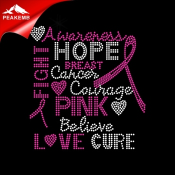 2018 New breast cancer ribbon wholesale iron-on rhinestone transfer
