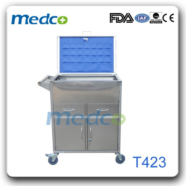 Hospital stainless steel emergency resuscitation trolley T423