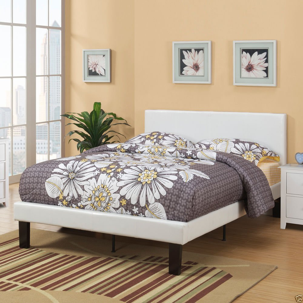 1PerfectChoice Modern Durable Faux Leather Wrapped Twin/Full Size Single Slats Bed Cream White